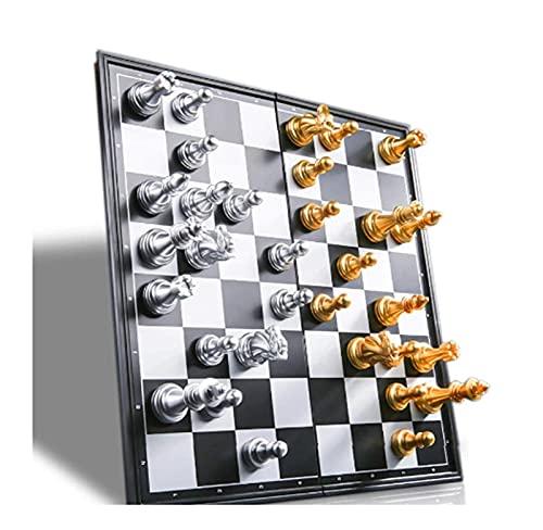 WXY-DE Juego de ajedrez de madera, mini ajedrez, plegable, de plástico, ligero, para viajes, portátil, mesa plegable, juego (color: 19,5 x 9,5 cm)