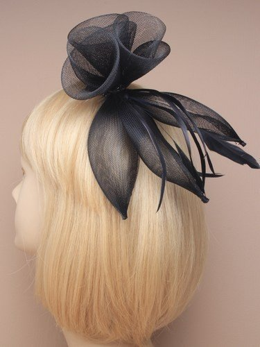 Black Fascinator on Headband/ Clip-in for Weddings, Races and Occasions-9852