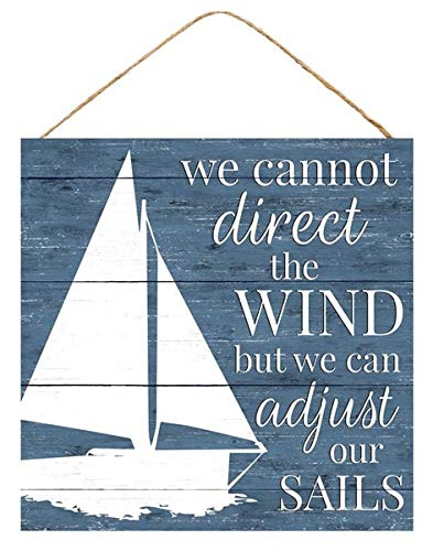 Craig Bachman Adjust Our Sails Sailing Beach Wooden Farmhouse Sign (10 Inches x 10 Inches)