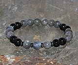 Pulsera de Labradorita y Turmalina negra de 8 mm, pulsera unisex, joyería Hematites, Pulsera Yoga Cuentas de Mala, Cristales Curativos para despertar el equilibrio emocional