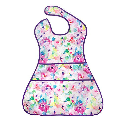 Bumkins Supersized Superbib, Oversized Baby Bib, Waterproof, Washable, Stain & Odor Resistant, 6-24 Months - Watercolor