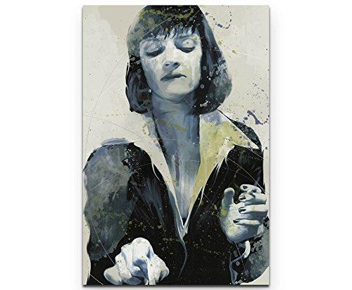 Paul Sinus Art Uma Thurman Pulp Fiction 90x60cm auf Leinwand gespannt fertig zum aufhängen
