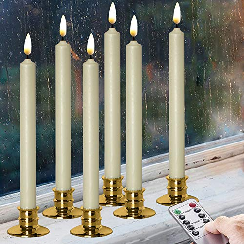 """Flameless Ivory Real Wax Taper Window Candles with Removable Golden Candleholders with Remote and Timer, 10"""" Flickering Battery Operated Wax-Dipped LED Candles Set of 6"""
