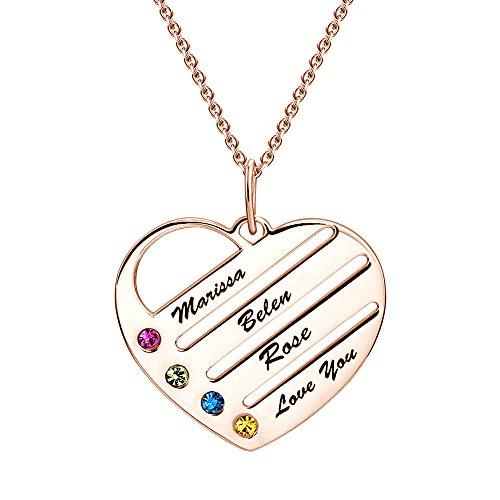 Soufeel Damen Halskette mit Graviertem Herz Anhänger Namenskette Kette mit Namen Gravur und Steine Roségold vergoldet Besonderes Geschenk für Mutter Familie Geburtstag Weihnachten
