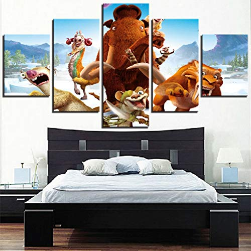 ADGUH Leinwanddrucke HD Druck Leinwand Bild Wandkunst 5 Stücke Cartoon Movie Ice Age Tiere Tiger Malerei Winter Poster Home Decor