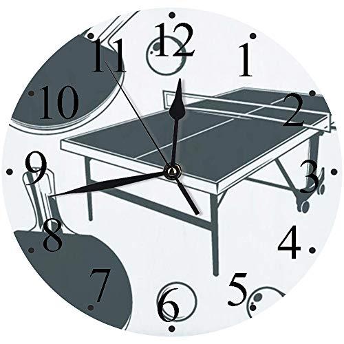 LUHUN Reloj de Pared Moderno,Mesa de Ping Pong, Raqueta de Ping Pong, Pelota pequeña de Ping pongreloj de Cuarzo de Cuarzo Redondo No-Ticking para Sala de Estar 30 cm