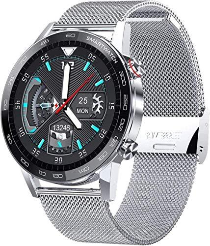 hwbq Reloj inteligente de pantalla táctil reloj de pulsera con cámara Bluetooth impermeable reloj inteligente deportivo Fitness Tracker desgaste diario/Negro-Plata