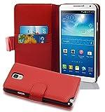 Cadorabo Funda Libro para Samsung Galaxy Note 3 en Rojo Infierno - Cubierta Proteccíon de Cuero Sintético Estructurado con Tarjetero y Función de Suporte - Etui Case Cover Carcasa