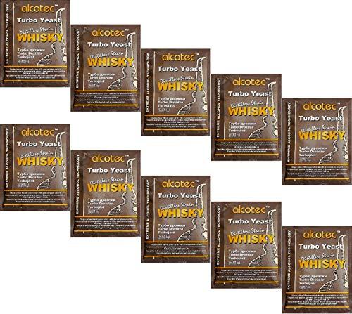AlcoTec HUGBERT Turbohefe Whisky + GA Enzym Alkohol Gärhefe Hefe Brennhefe + GRATIS, 10 Stück