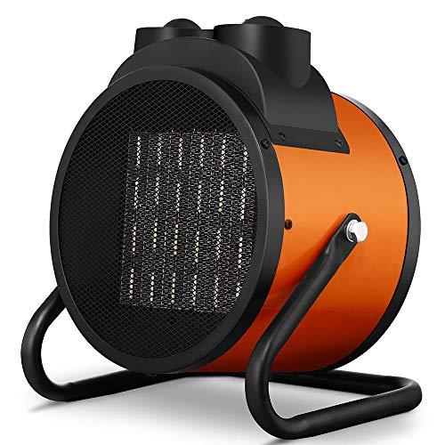 Bakaji Estufa eléctrica con elementos calefactores de cerámica, calefactor industrial, potencia 3000 W, termostato ajustable, función ventilador frío, inclinación ajustable (3000 W)