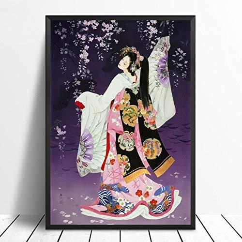Cuadro En Lienzo,Retro Árbol Sakura Japonés Bailando Geisha Ukiyo-E Non-Woven Carteles Murales Arte Abstracto,Imagen 3D Pared Vertical Pintar Ilustraciones Dormitorio Decoraciones Home Office,70Cm*