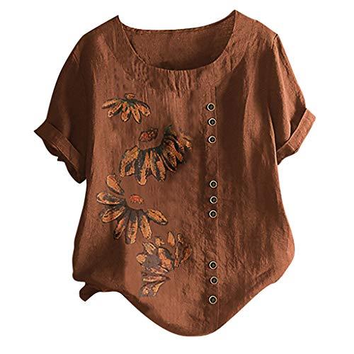 Damen Urlaub Leinen Tunika Sommer O-Ausschnitt T-Shirt Einfach Täglich Bekleidung(Braun,3XL)