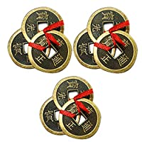 """Each 3 chinese coins are tied with red ribbon & hole at center to symbolize good luck & wealth. Placement: Wealth sector like purse, pocket, wallets, handbag, cash register to attract money The dimensions of each of coins with red ribbon are 1.5"""" inc..."""