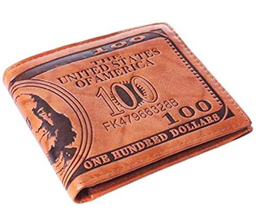 Kreativer Geldbeutel in Dollaroptik für Damen, Herren und Kinder, 3 Innentaschen, 3 Sichtfenster und Platz für weitere Karten und Geheimversteck, Kunstleder (BRAUN)