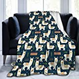 PNNUO Flannel Fleece Blanket Full Size Cute Alpaca Llama Soft Throw Blanket,All-Season Plush Blanket for Couch Bed Travelling Camping Or Kids Adults (Llama 1, 50'x40')