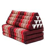 Leewadee colchón Plegable XXL con Tres segmentos – Futón con cojín Hecho a Mano de kapok Natural, colchoneta tailandesa Ancha, 170 x 80 cm, Rojo