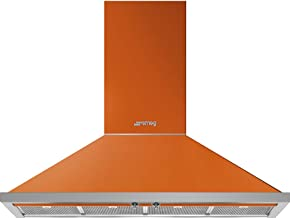 Smeg Portofino Series 48-Inch Pro Style Wall Mount Chimney Ducted 600 CFM Hood with Recirculating Option & Led Lights (Orange)