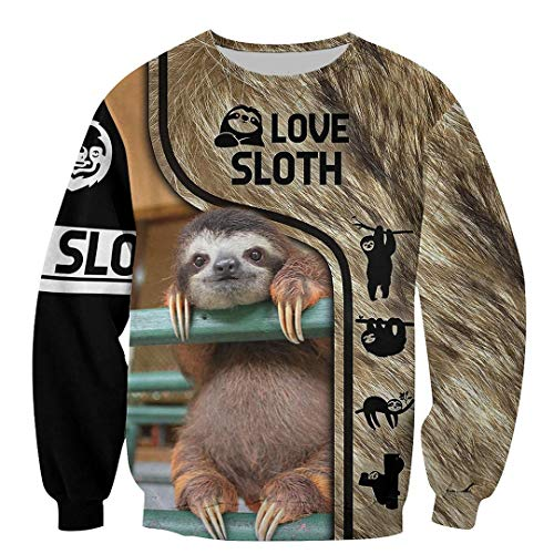 Lazy Sloth 3D Printed Sweatshirt Hombres Hoodies Street Casual Sudadera Unisex Black 4XL