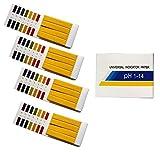 Exporee 320 Piezas 1-14 Tiras de pH, Papel Tornasol pH Agua Jugo Leche, Tiras Reactivas pH con Tarjeta de Control, Paquete de 4