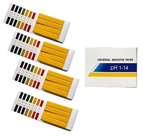 Exporee 320 Stück 1-14 ph Teststreifen Wasser Saft Milch pH Wert Teststreifen, Lackmuspapier, 4 Packung