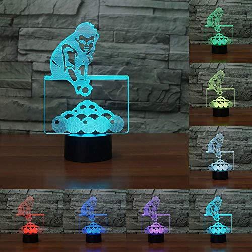 Ybzx Lámpara de Mesa de Billar de 7 Colores Que cambian, Luces de Noche LED visuales 3D para niños, lámpara USB, iluminación para Dormir para bebés, Regalos, decoración