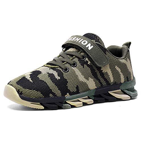 LONGWEI Jungen Mädchen Sneakers Sportschuhe Atmungsaktiv Camouflage Laufschuhe Wanderschuhe für Kinder Schuhe(35 EU/Etikettengröße 36,Armee Grün)