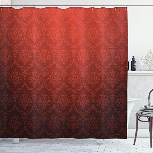 ABAKUHAUS Dunkelrot Duschvorhang, Antike Blumen Ombre, Hochwertig mit 12 Haken Set Leicht zu pflegen Farbfest Wasser Bakterie Resistent, 175 x 200 cm, Rot-Schwarzen