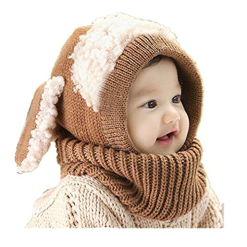 Babybekleidung Hüte & Mützen Longra Niedlich Winter Baby Kinder Mädchen Jungen Warm Woll Haube Kapuze Schal Mützen Hüte (Khaki)