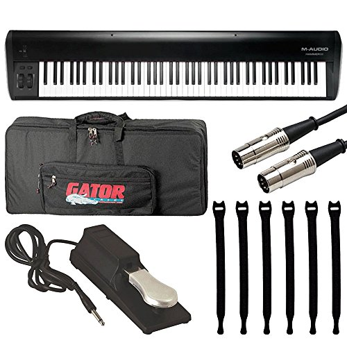 M-Audio Hammer 88 Key Hammer-Action USB MIDI Keyboard Controller + On Stage Pedal + Gator 88 Note Keyboard Gig Bag + Hosa MID-503 Serviceable...