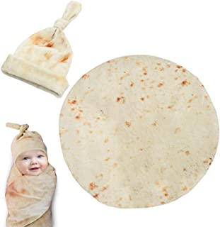 Ashipher Burrito Tortilla Swaddle Blanket and Hat for Baby/Kids (Round,37 Inches)