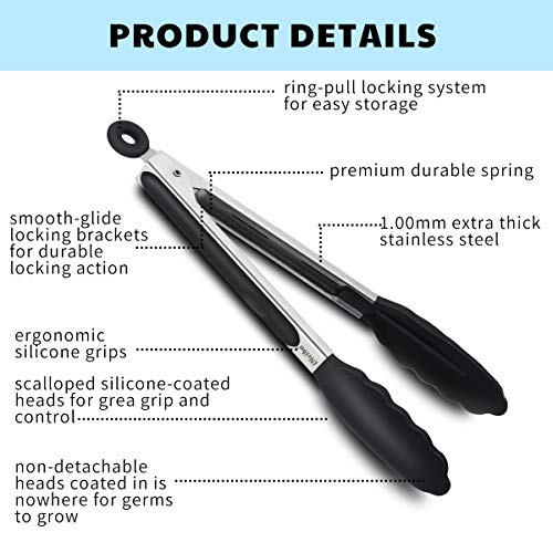 """iNeibo Kitchen Premium Silicone Tongs 9""""- Non-slip & Easy Grip Stainless Steel Handle - Smart Locking Clip - Heat Resistant, Food Grade - Handy Utensil For Cooking, Serving, Barbecue, Buffet, Salad, Ice, Oven (black)"""