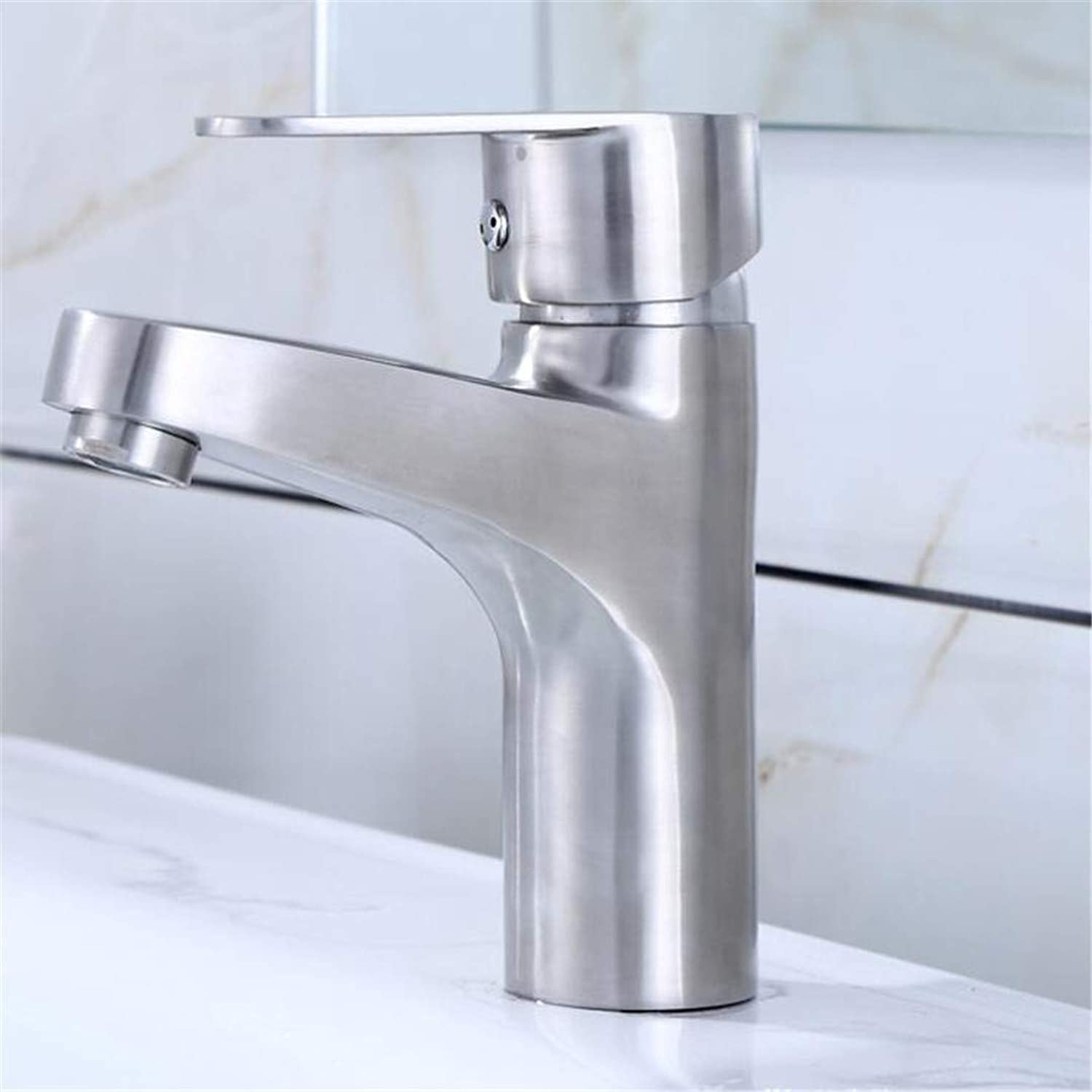 Bathroom Sink Bath Faucet Stainless Steel Wire Drawing Monk Single Hole Hot and Cold Washbasin Basin Faucet Basin