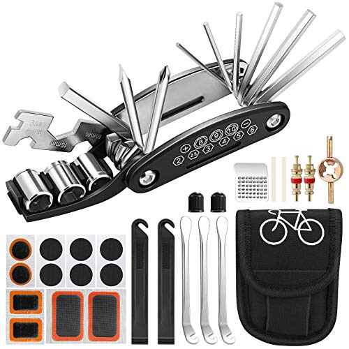 Kit de Herramientas para Bicicleta,Hippodance Herramientas Bicicleta 16 en 1 Reparación de Pinchazos Bicicleta,Herramienta de Reparación Multifunción para Bicicleta con kit de parche
