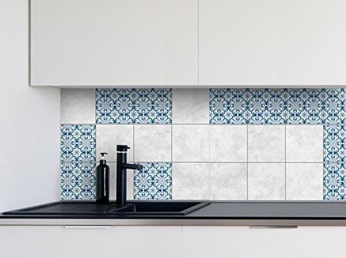 Adesivi per Piastrelle Cucina Modelli Blu Dimensioni della Pellicola del Vinile per Le Dimensioni Differenti delle mattonelle della Parete del Bagno - 16pcs