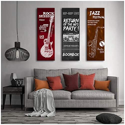 Póster de lienzo de instrumentos musicales Guitarra...