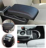 jialaiwo Apoyabrazos para Nissan Juke 2014-2017 Luz LED Incorporada para Consola Central Coche Reposabrazos Accesorios Interiores Negro