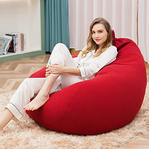 Blankspace Non-skeleton lazy lightweight sofa lazy modern minimalist fabric single bedroom sofa bean bag, Red