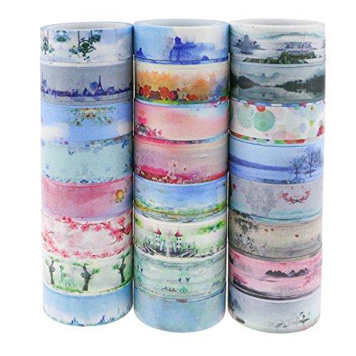Powangle マスキングテープ 和紙テープ 和紙小巻ロール ラッピング デコレーション 剥がしやすい カラフル ...