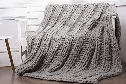 Chunky Knit Blanket Gray Giant Wool Yarn Knitting knit blanket Thick Pure Wool Throw Grey wool