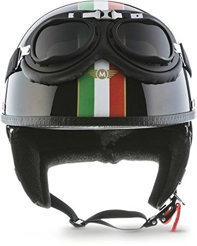 "Moto Helmets® D22-Set ""Italy Black"" · Brain-Cap · Halbschale Jet-Helm Motorrad-Helm Roller-Helm Scooter-Helm Bobber Mofa-Helm Chopper Retro Cruiser Vintage Pilot Biker Helmet Brille · M (57-58cm)"