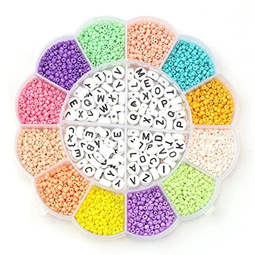 Kit de cuentas de semillas de colores Cuentas de semillas de vidrio para kit de fabricación de joyas y cuentas de letras de alfabeto completo para la fabricación de collar de pulsera, cuerdas de cuerd