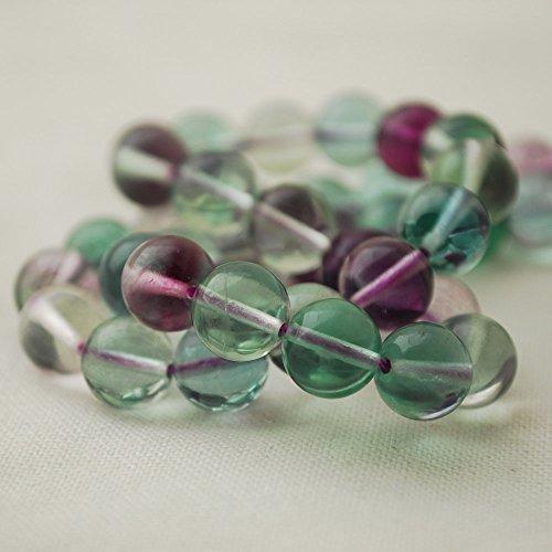Pierres semi-précieuses rondes en fluorite naturelle couleur arc-en-ciel – 47-50 perles de 8 mm avec fil de 40 cm – Qualité AAA
