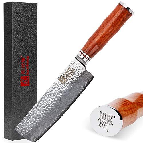 Sunlong SL-DK1049R - Cuchillo Usuba & Nakiri de Borde Fino de 16,5 cm, Hecho con Acero Damasco VG10, Corte de Verduras