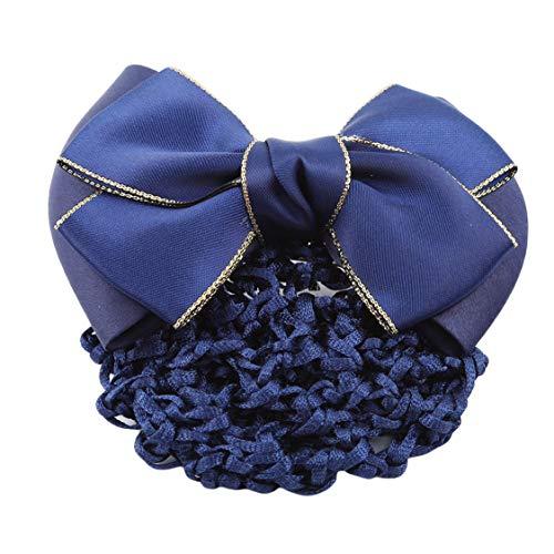 Idiytip bowknot Infirmière Stewardess cheveux Weave Net Pocket Coiffe Hairpin professionnelles Femme Ornements, Bleu Gilt Bow, Bleu Gilt Bow