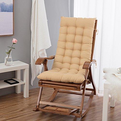 HMWPB Rocking Chair Cushions, Lounge Chair Cushions Thicken Lengthen Folding Wicker Chair Pads Patio Furniture Overstuffed Bench Cushion-Beige 120x48cm(47x19inch)