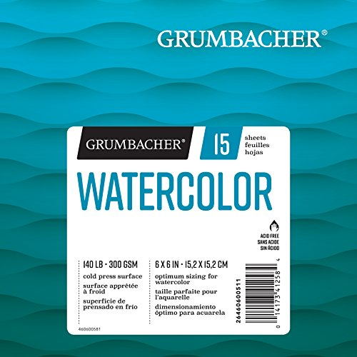 Grumbacher Watercolor Paper Pad, 140 lb. / 300 GSM, 6 x 6 inches, Fold Over Construction, 15 White Cold-Press Sheets/Pad, 1 Each, 26460600511
