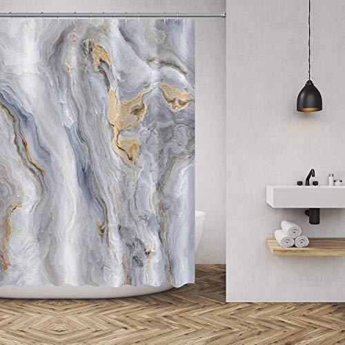 MuaToo Marmor Duschvorhang Modern Abstrakt Art Decor Stil Polyester Stoff Badezimmer Dekor Sets mit Haken 183,9 x 198,9 cm, Blau Gold Grau Weiß