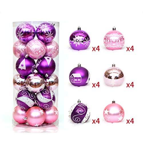 Manyo 24 STÜCKE 6 cm Weihnachtskugel Ornamente Bemalte Bruchsichere Weihnachtsschmuck