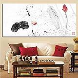 Imagen creativa del arte de la pared Pintura de caligrafía china tradicional Koi Fish Lotus Impresiones de la lona Sala de estar sin marco A 30x45CM