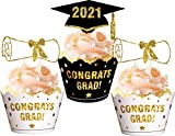 96PCS 2021 Graduation Cupcake Toppers Wrappers - Congrats Grad Party Supplies Cake Decorations